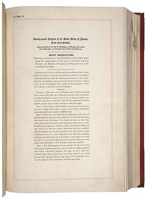 Proposal of the Twentieth Amendment to the US Constitution