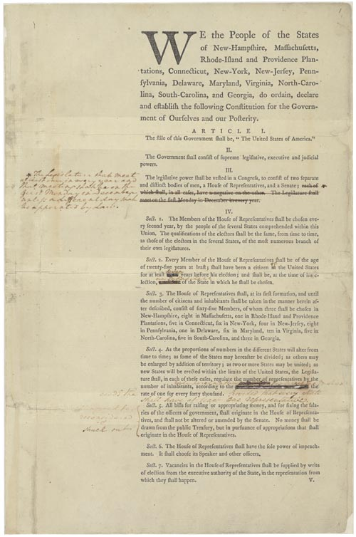 united states constitutional convention george washington s annotated first draft of the united states us constitution