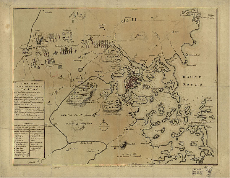 Hand drawn depiction of the Battles of Lexington and Concord and the Siege of Boston, by J. DeCosta July 29, 1775.