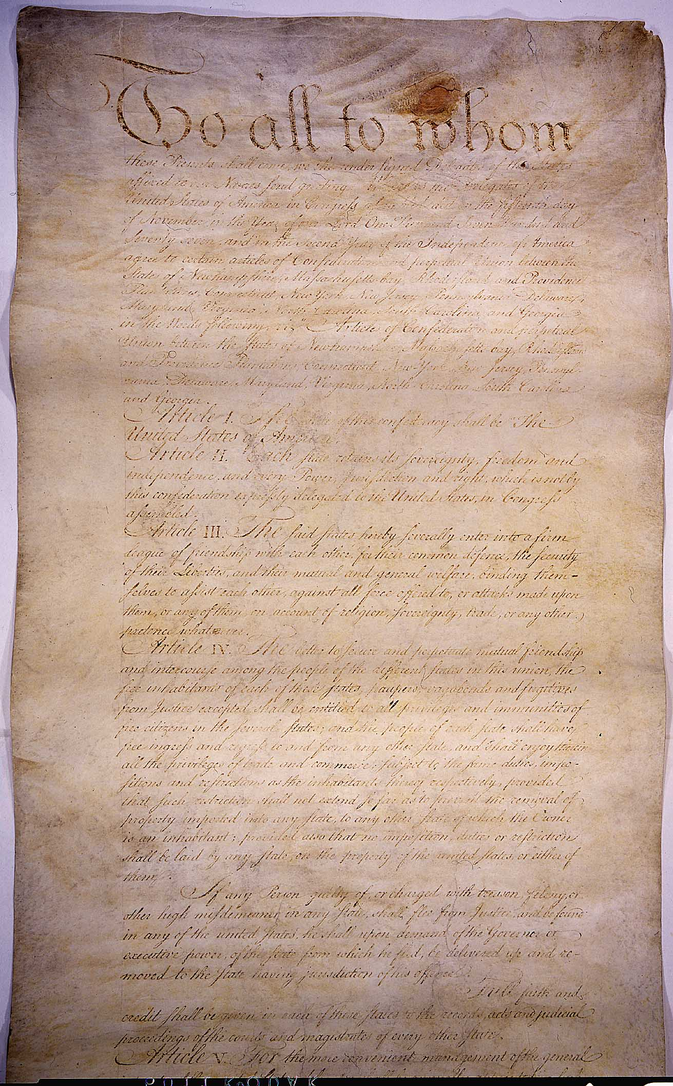 the articles of confederation an The articles of confederation, formally named the articles of confederation and perpetual union, was an agreement among all thirteen original states in the united states of america that served as its first constitution.