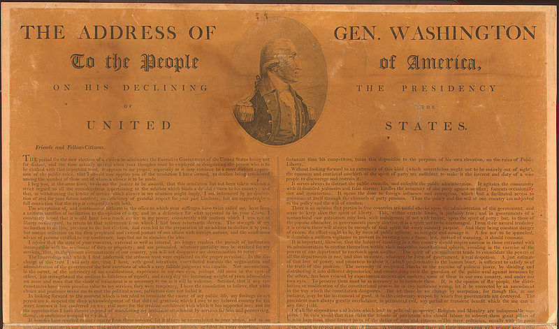 george washingtons farewell address In his farewell address, washington, having served our country in war and  peace, gave his advice that we as a nation should be bound by the.