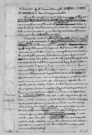 Thomas Jefferson annotated Declaration of Independence