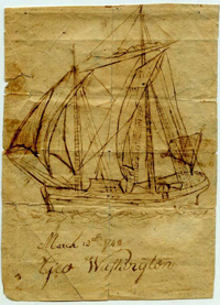 A detailed ink drawing of a clipper ship signed by George Washington
