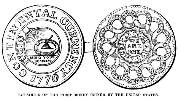 Facsimile of the first money coined by the United States