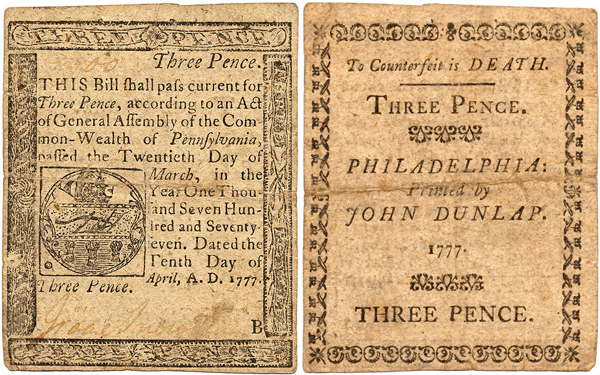 Front and Back of a Colonial Bill worth three pence