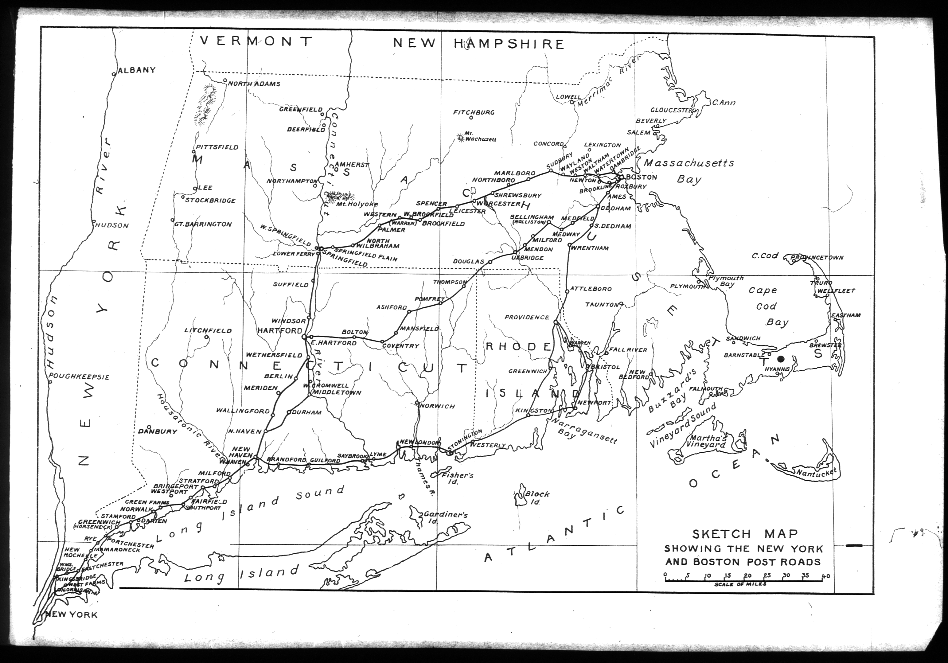 early american map of postal road between boston and new york city